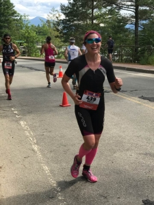 Smiles on the Ironman Lake Placid run course!